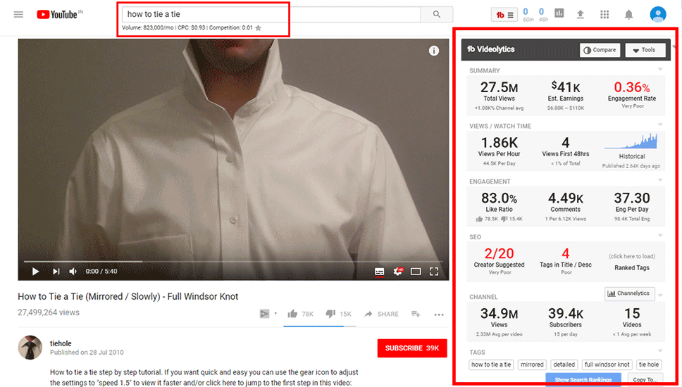 VidIQ extension for youtube channel and video statistics