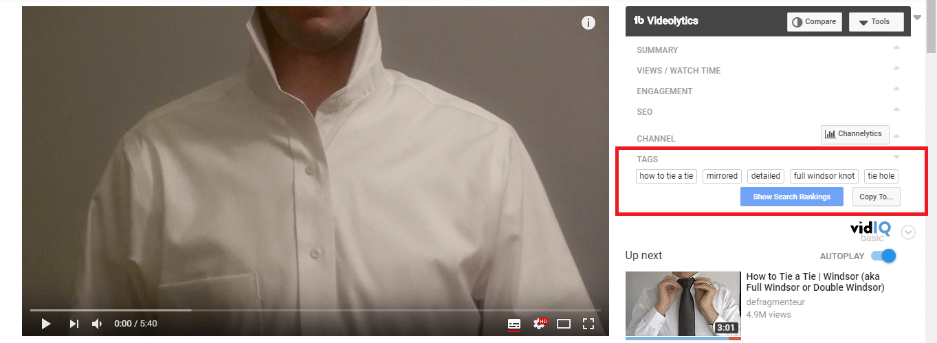 YouTube competitors video tags