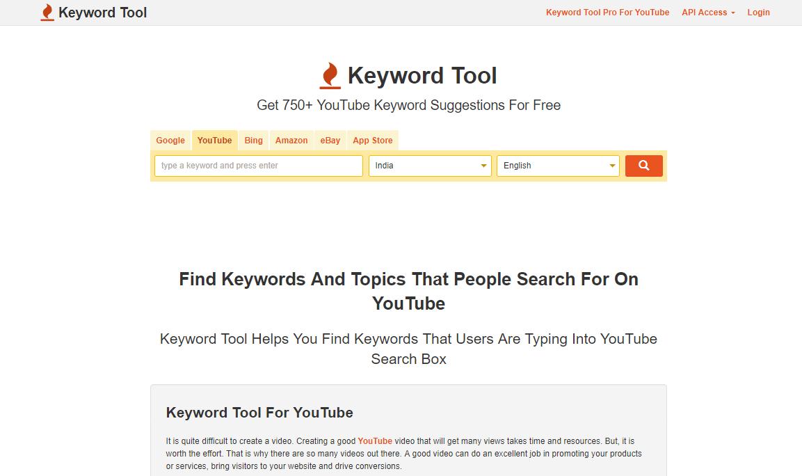 keywordtool.io is a tool for YouTube keyword research
